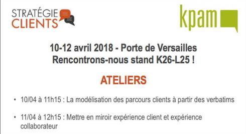 KPAM au salon Stratégie Clients du 10 au 12 avril 2018