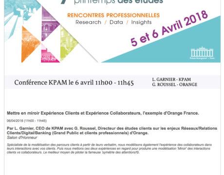Conférence KPAM au 7ème Printemps des Etudes les 5 et 6 avril 2018 – Palais Brongniart, Paris